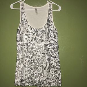 White silver sequined tank top